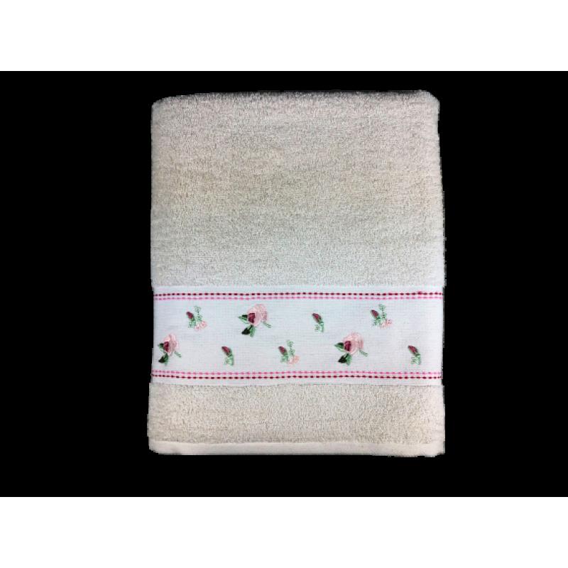 Vip Line Pamuk Banyo Havlusu 90x150 cm - Pıtırcık Nakışlı - Krem4